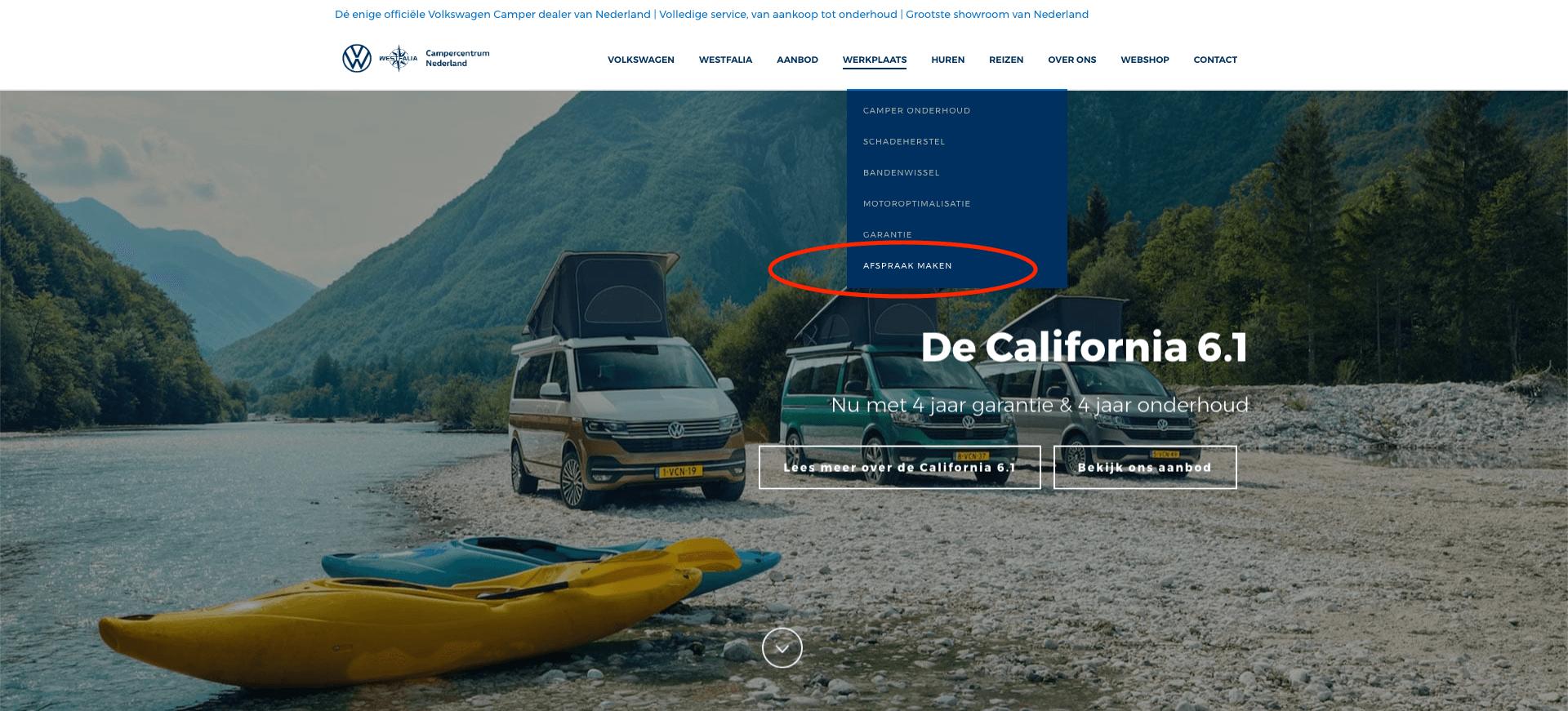Online Werkplaatsafspraak maken bij Campercentrum Nederland stap 1