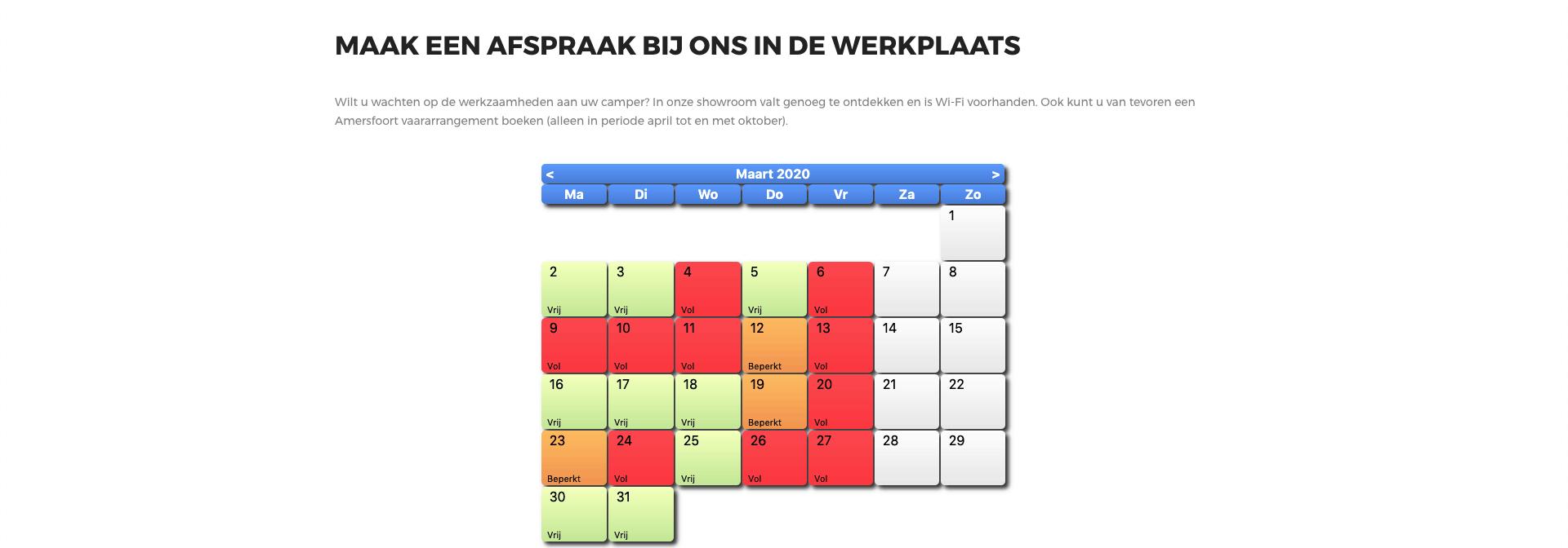 Online Werkplaatsafspraak maken bij Campercentrum Nederland stap 2